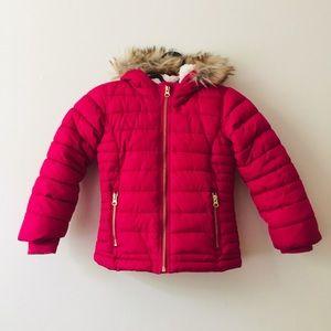 Old Navy   Pink Fur Trim Hooded Puffer Coat